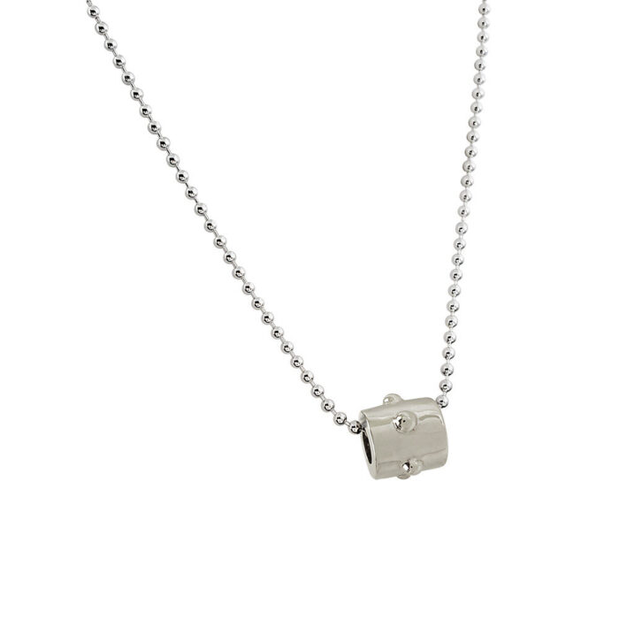 Silver Japa Bead with Silver Bead Necklace