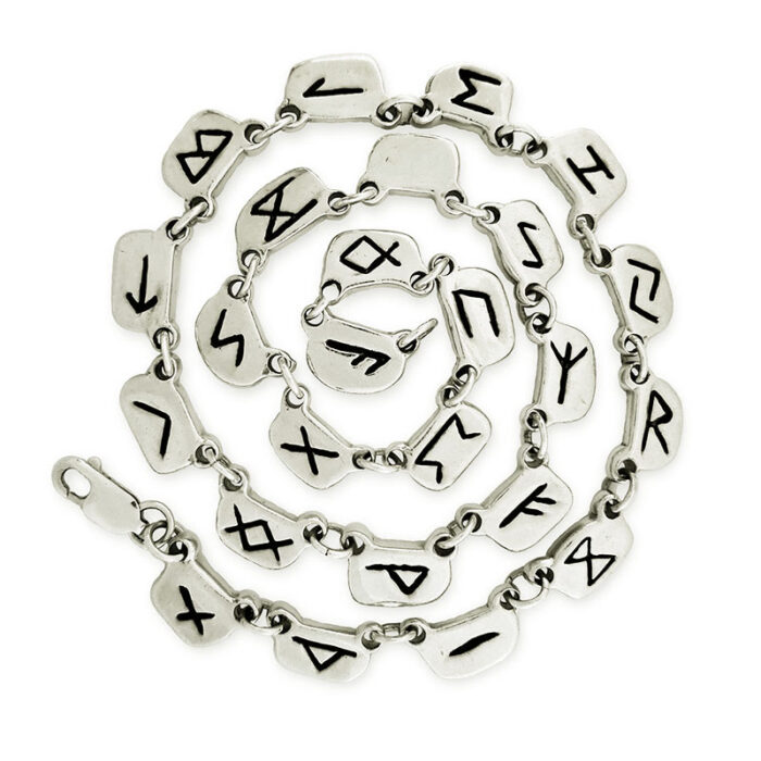 Large White Gold Rune Necklace