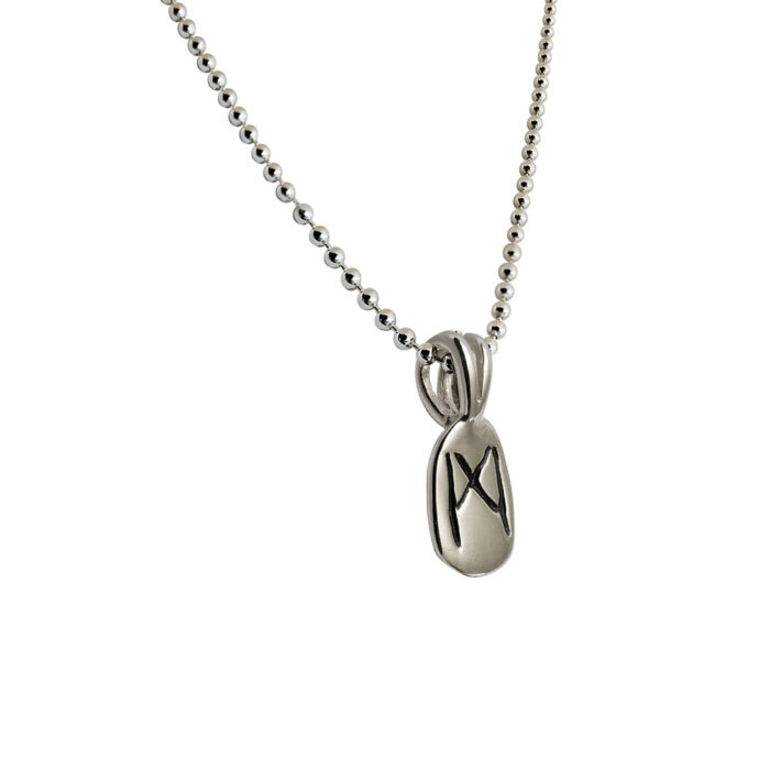 Mannaz Rune Pendant in Solid Sterling Silver with Silver Bead Necklace