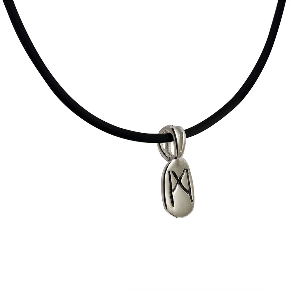Mannaz Rune Pendant in Solid Sterling Silver on Rubber Necklace
