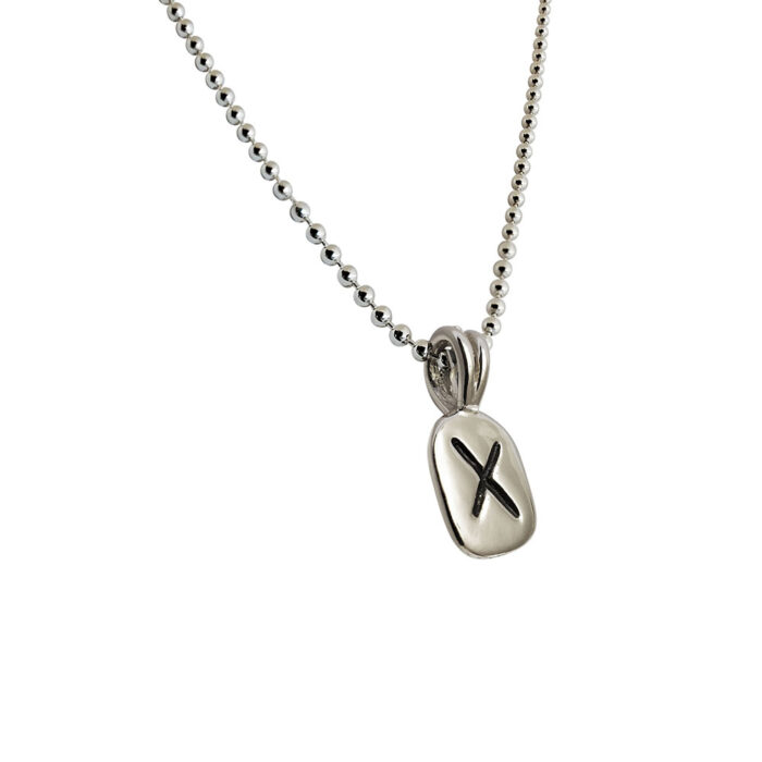 Gebo Rune Pendant in Solid Sterling Silver with Silver Bead Necklace
