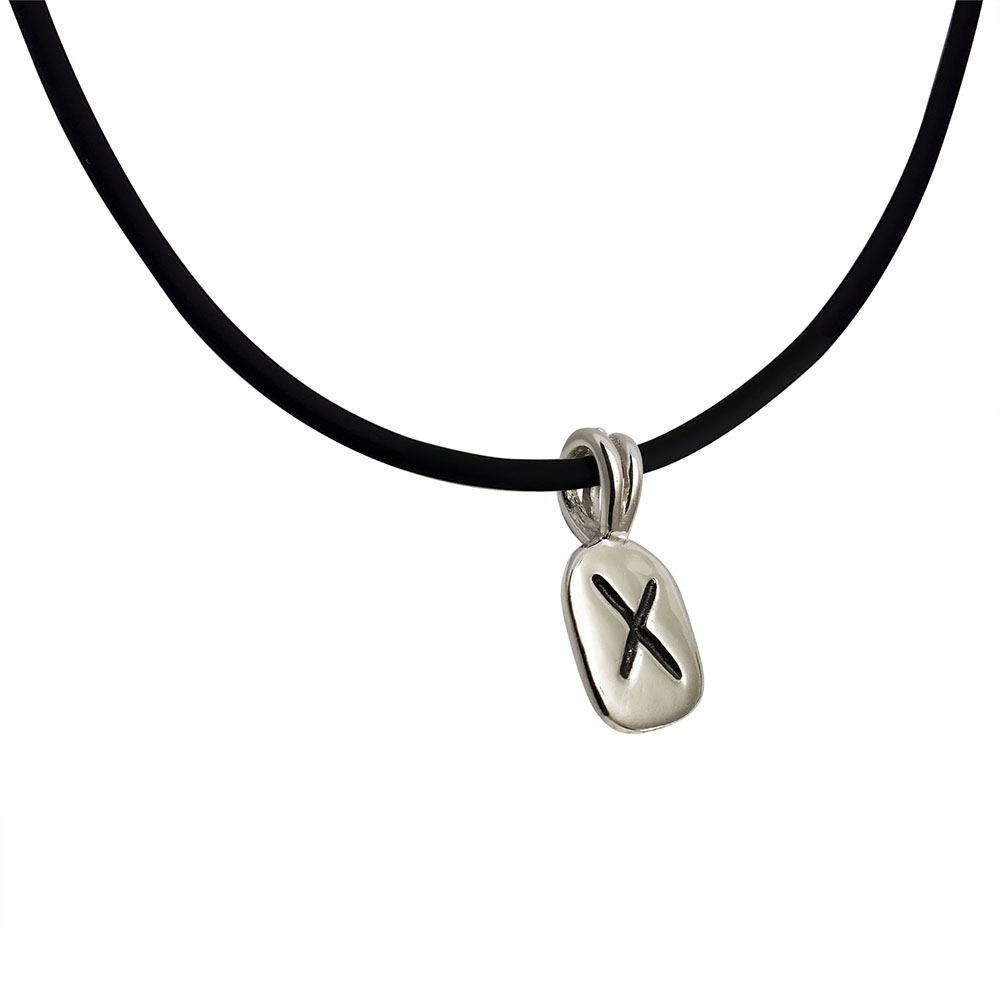 Gebo Rune Pendant in Solid Sterling Silver on Rubber Necklace