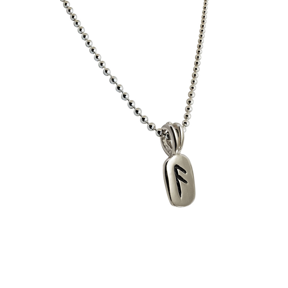 Ansuz Rune Pendant in Solid Sterling Silver with Silver Bead Necklace