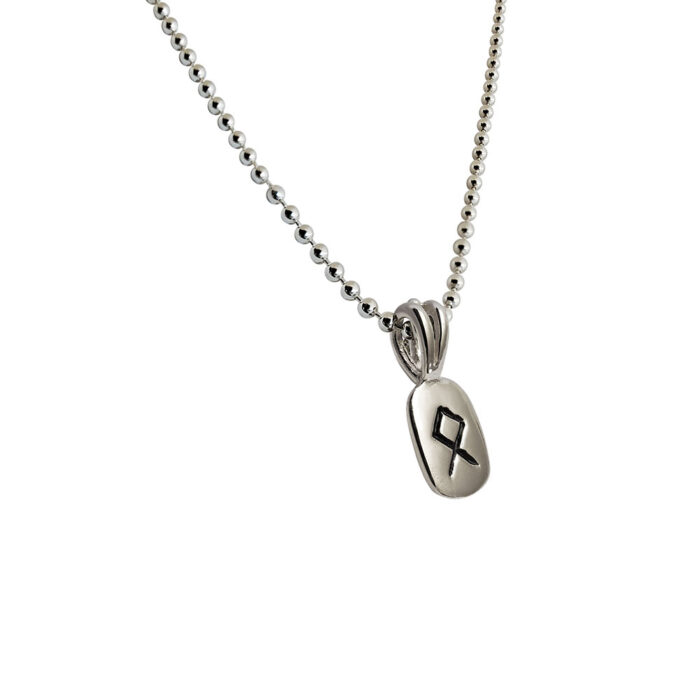 Othila Rune Pendant in Solid Sterling Silver with Silver Bead Necklace