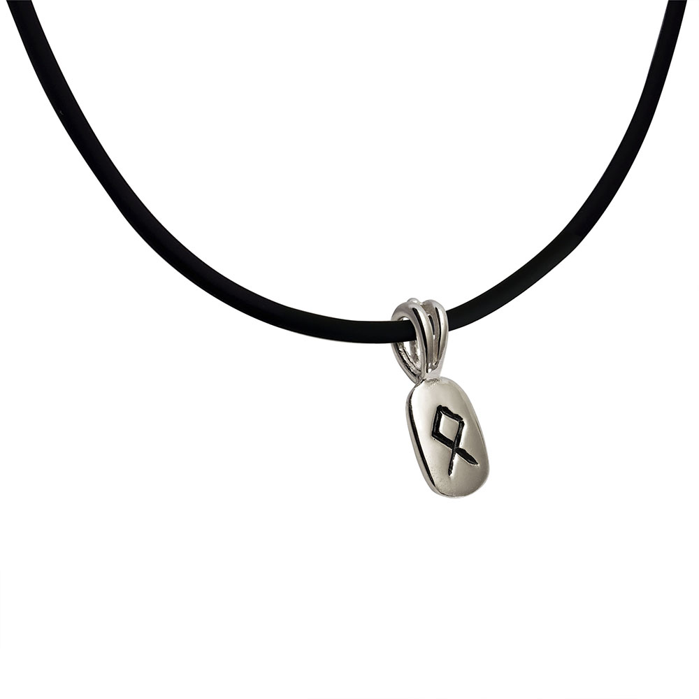 Othila Rune Pendant in Solid Sterling Silver on Rubber Necklace