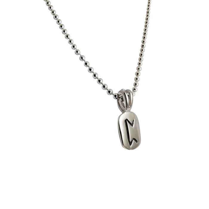 Perth Rune Pendant in Solid Sterling Silver with Silver Bead Necklace