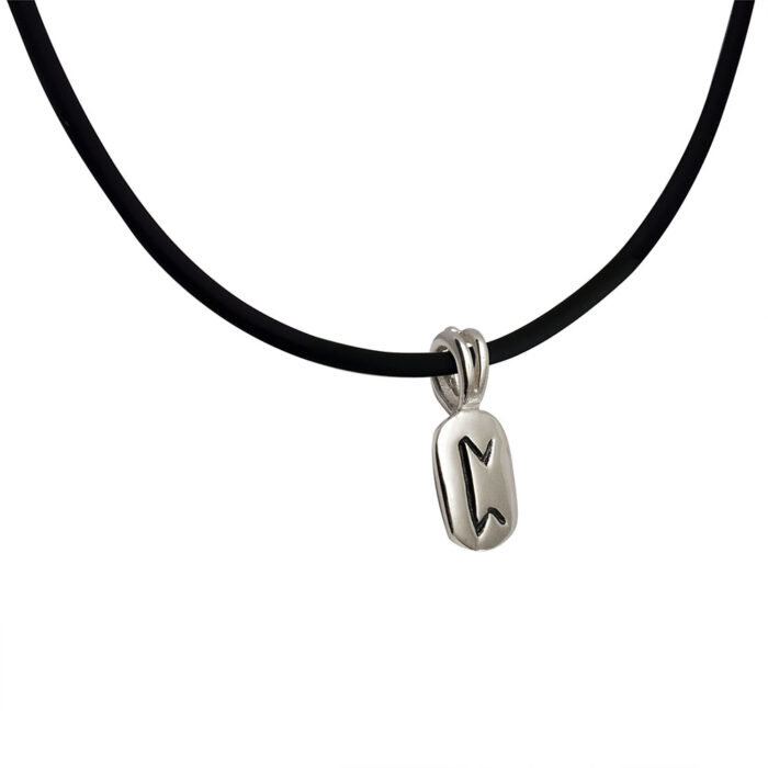 Perth Rune Pendant in Solid Sterling Silver on Rubber Necklace