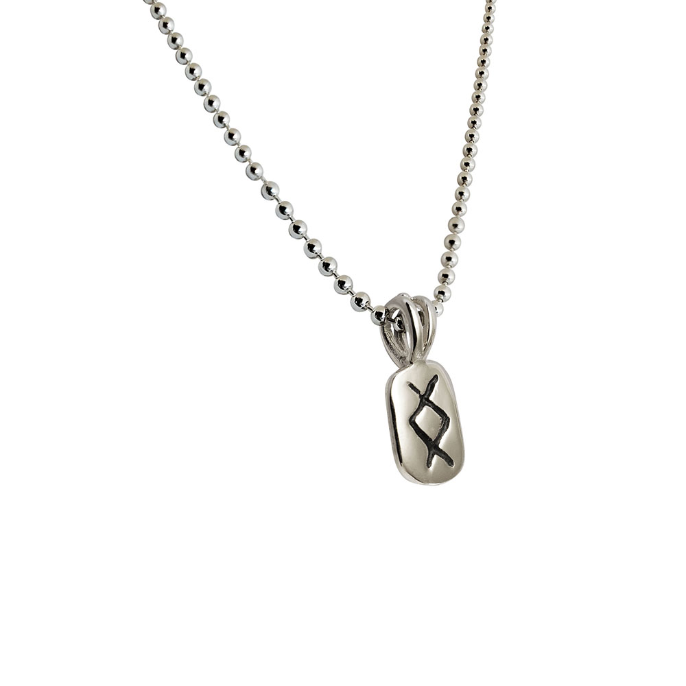 Inguz Rune Pendant in Solid Sterling Silver with Silver Bead Necklace