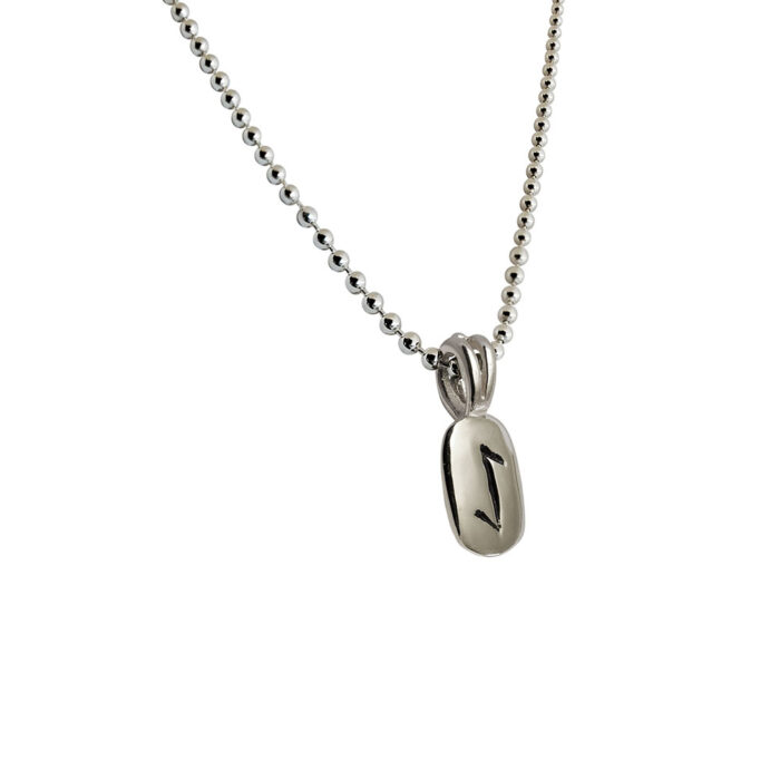 Eihwaz Rune Pendant in Solid Sterling Silver with Silver Bead Necklace