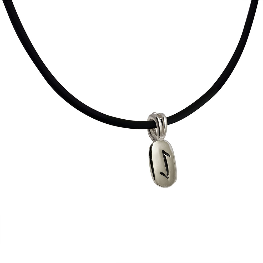 Eihwaz Rune Pendant in Solid Sterling Silver on Rubber Necklace