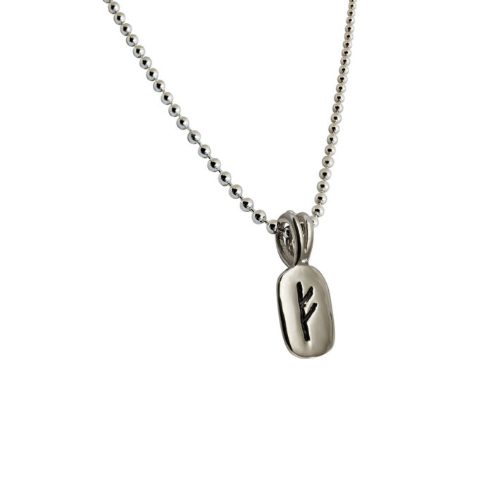 Fehu Rune Pendant in Solid Sterling Silver with Silver Bead Necklace