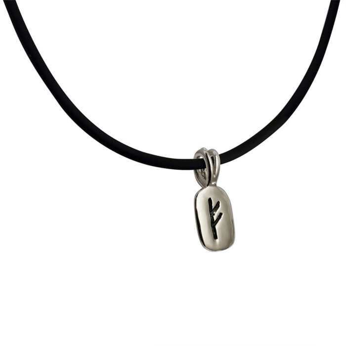 Fehu Rune Pendant in Solid Sterling Silver on Rubber Necklace