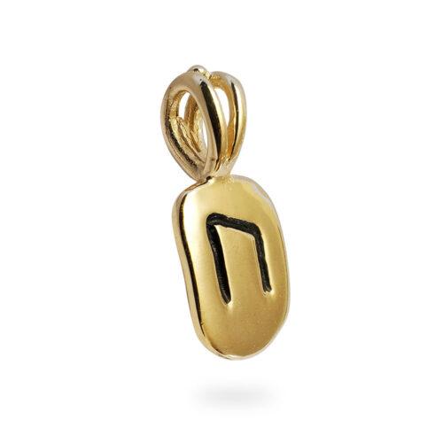 Uruz Rune Pendant in 14K Yellow Gold