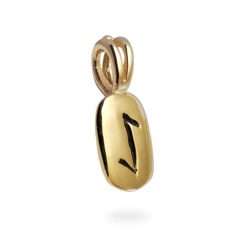 Eihwaz Rune Pendant in 14K Yellow Gold