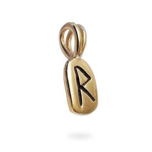 Raido Rune Pendant in Solid 14K Yellow Gold