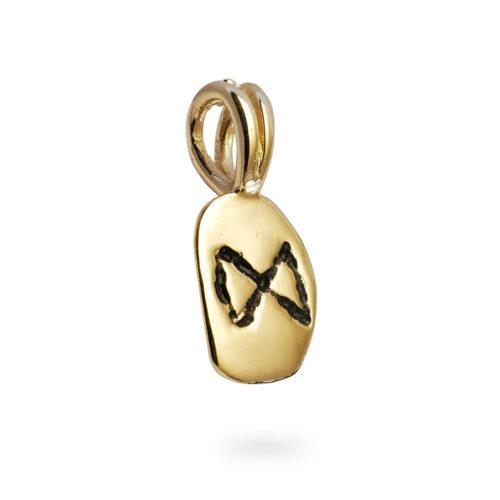Dagaz Rune Pendant in Solid 14K Yellow Gold