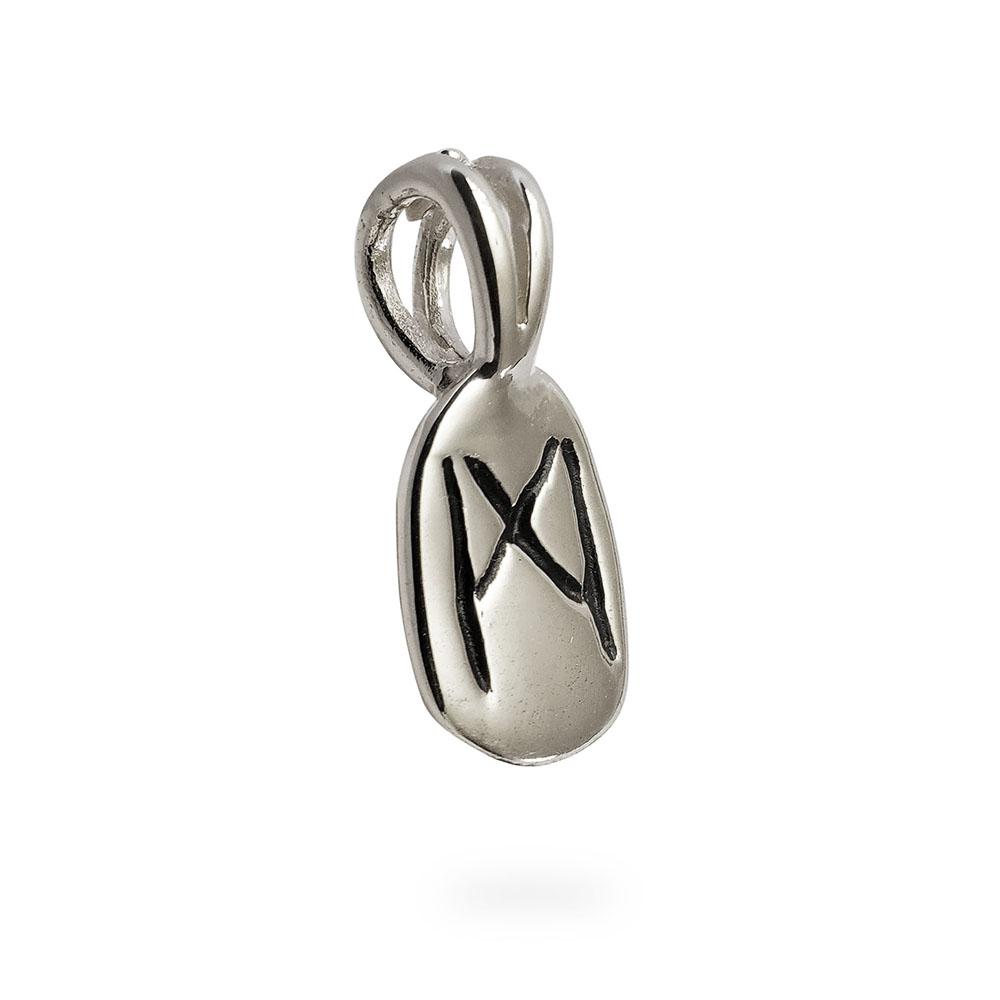 Mannaz Rune Pendant in Silver