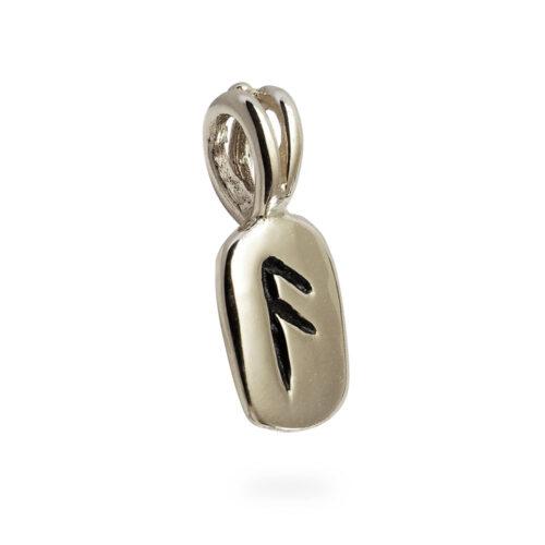 Ansuz Rune Pendant in 14k White Gold