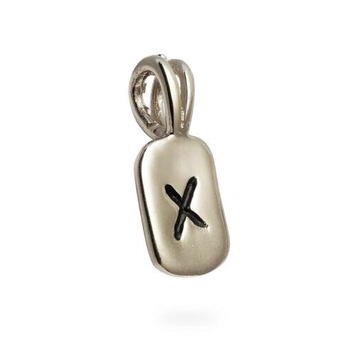 Nauthiz Rune Pendant in 14K White Gold
