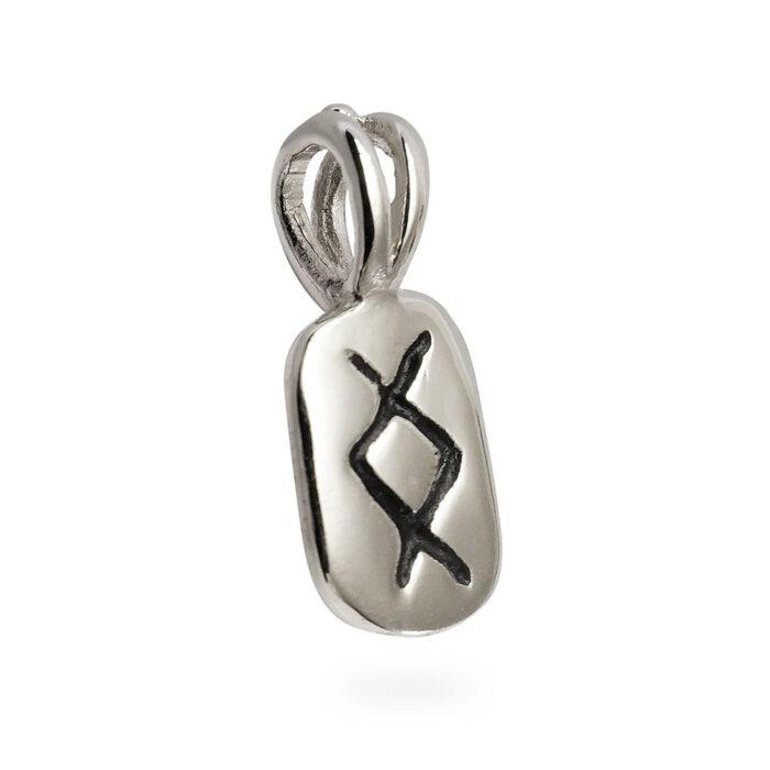 Inguz Rune Pendant in Solid Sterling Silver