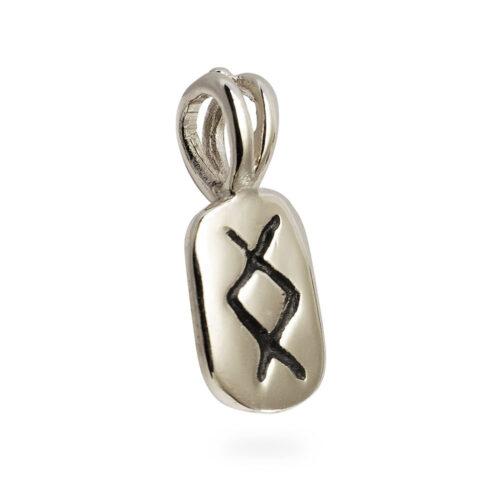 Inguz Rune Pendant in 14K White Gold