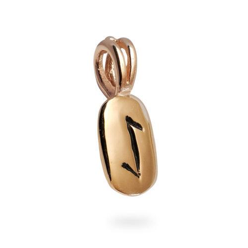 Eihwaz Rune Pendant in 14K Rose Gold