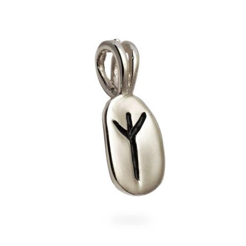 Algiz Rune Pendant in 14K White Gold