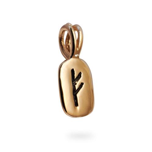 Fehu Rune Pendant in 14K Rose Gold