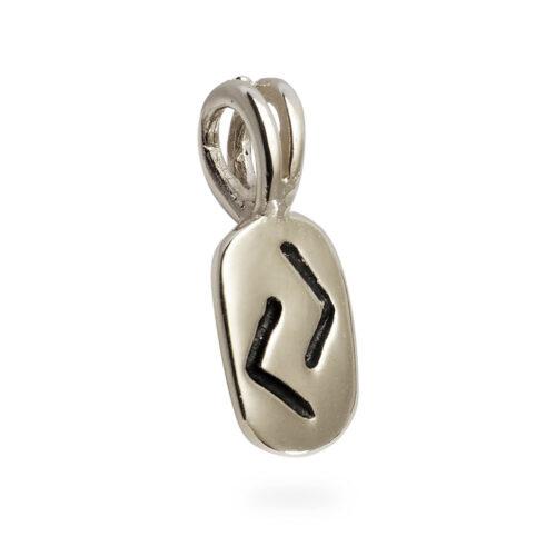 Jera Rune Pendant in Solid 14K White Gold