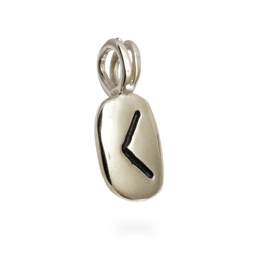 Kano Rune Pendant in Solid 14K White Gold