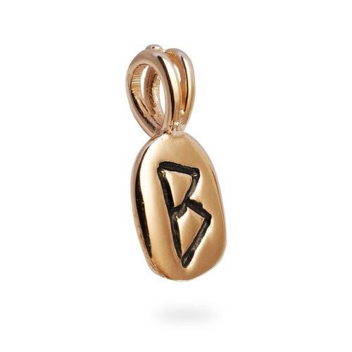 Berkana Rune Pendant in Solid 14K Rose Gold