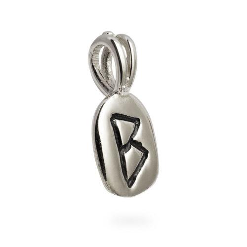 Berkana Rune Pendant in Solid Sterling Silver