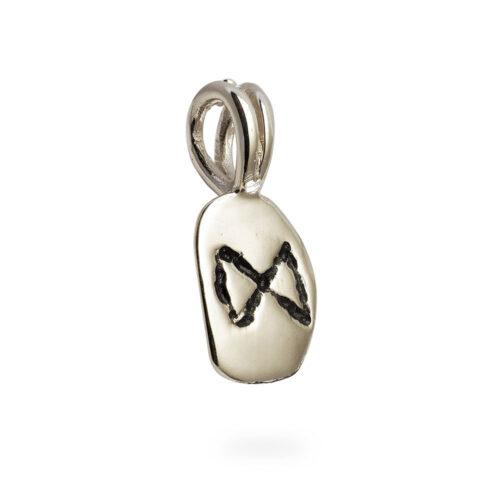 Dagaz Rune Pendant in Solid 14K White Gold