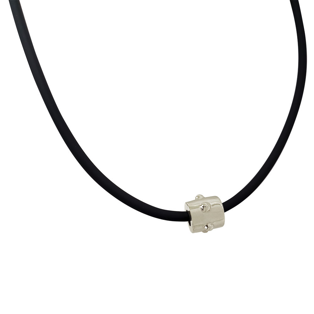 3mm Rubber Cord Necklace with Sterling Silver Japa Bead