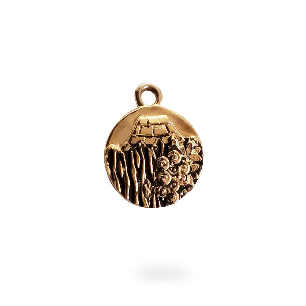Small Reversible 14 Rose Gold Carmel Charm Pendant
