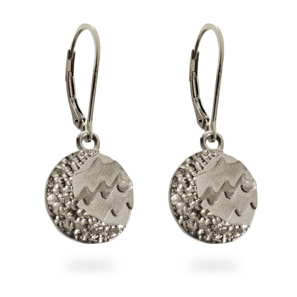 Reversible Carmel Earrings in Solid 14K White Gold