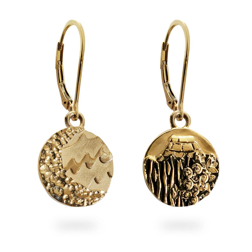 Reversible Carmel Earrings in Solid 14K Yellow Gold