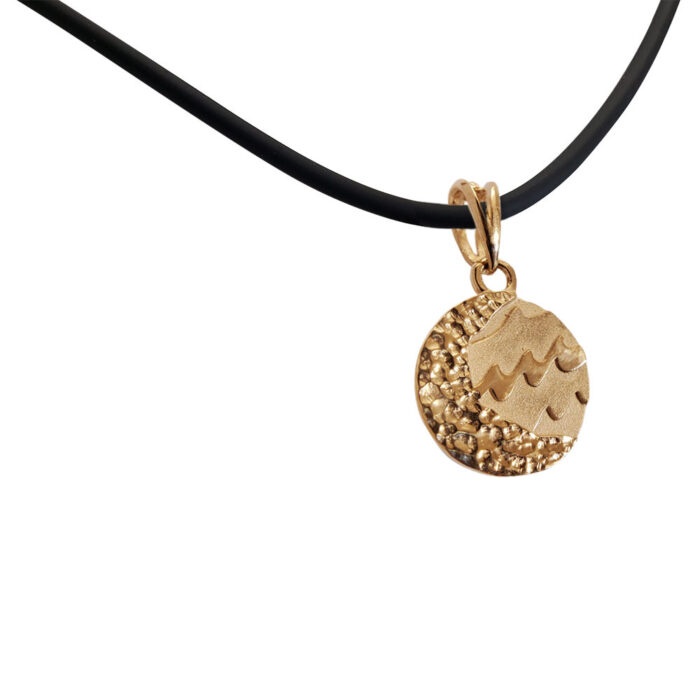 Small Reversible 14K Rose Gold Carmel Charm Pendant with Rubber Necklace