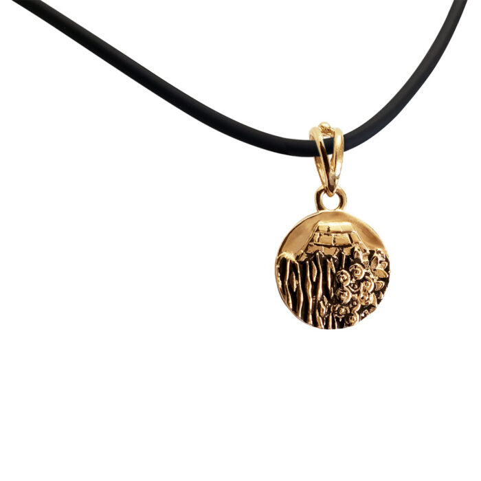 Small Reversible 14K Rose Gold Carmel Charm Pendant with Rubber Chain