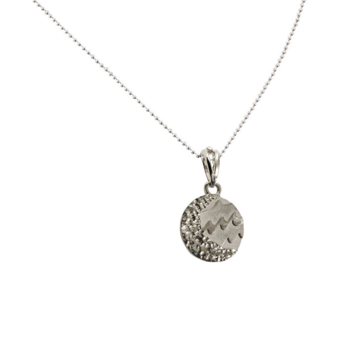 Small Reversible Sterling Silver Carmel Charm Pendant on Bead Necklace