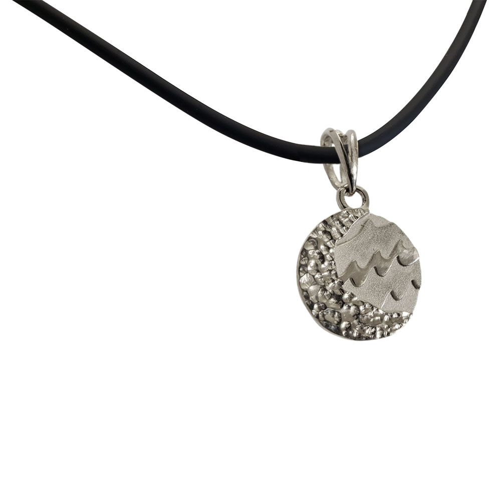 Small Reversible Sterling Silver Carmel Charm Pendant on Rubber Necklace