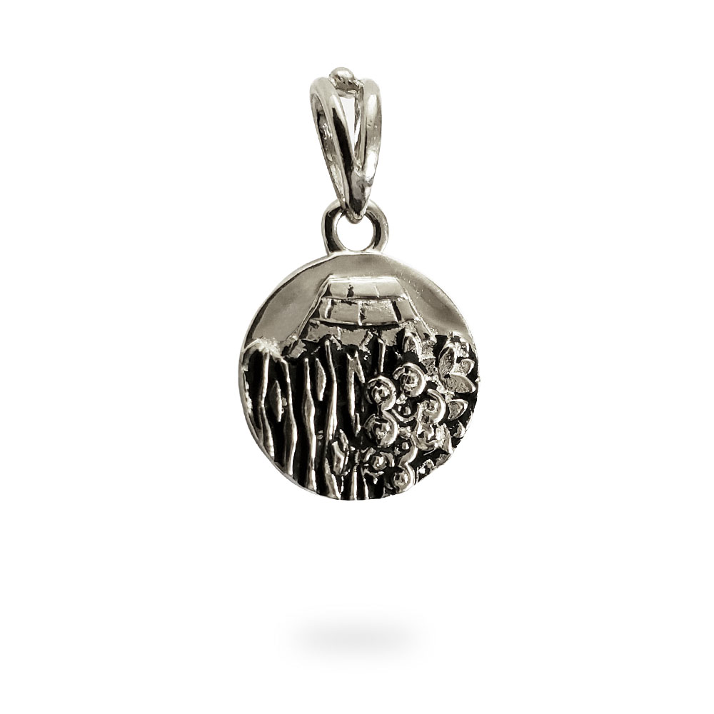 Small Reversible Sterling Silver Carmel Charm Pendant