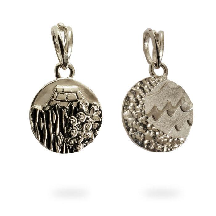 Small Reversible 14K White Gold Carmel Charm Pendant