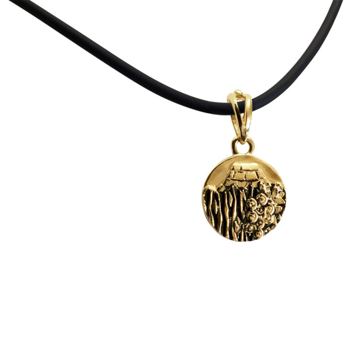 Small Reversible 14K Yellow Gold Carmel Charm Pendant with Rubber Necklace