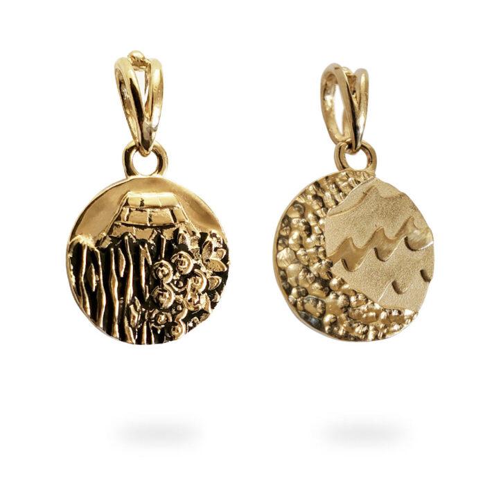 Small Reversible 14K Yellow Gold Carmel Charm Pendant